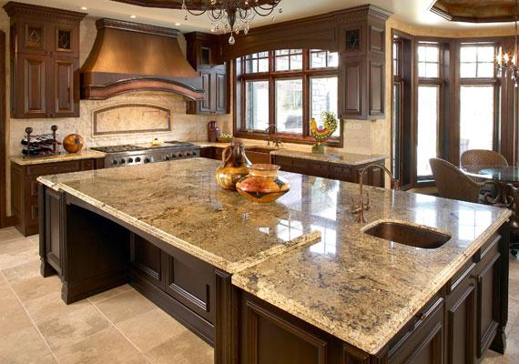 Exspansive granite island in a modern custom kitchen