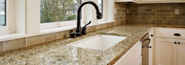 Custom Made Speckled Quartz Countertops With Undermount